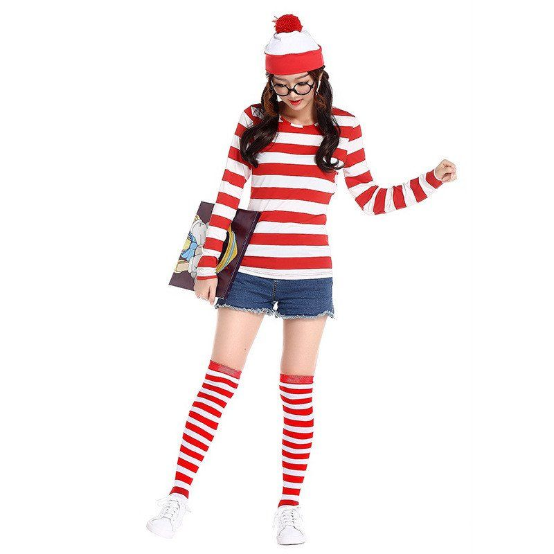 2016 Where\u0027s Wally Waldo TV Cartoon Stag Night Outfit Adult Mens - mens homemade halloween costume ideas