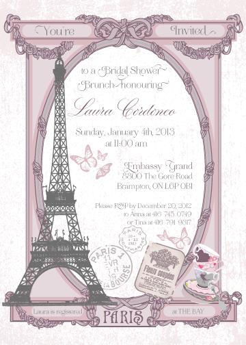 Paris themed brunch bridal shower invitation my work for for Paris themed invitations bridal shower