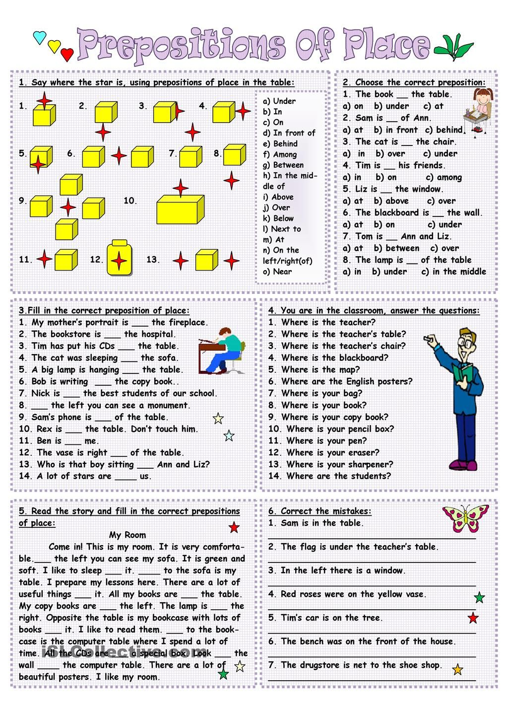 There isthere are and prepositions of place worksheet Free ESL – Prepositions of Place Worksheet