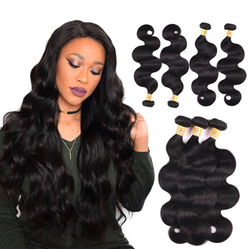 Malaysian Body Wave Natural Hair Weave 4 Bundles Deals 1b Body