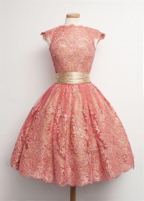 Konfirmations kjole idé bare i andre farmer måske hvid og tyrkis     vintage short pink prom dress, homecoming dress,cute+dresses+for+teens,ball+gown