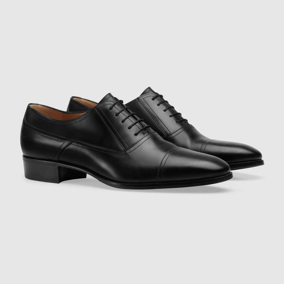 Shop The Leather Lace Up Shoe At Gucci Com Enjoy Free Shipping And Complimentary Gift Wrapping Groomsmen Shoes Dress Shoes Men Black Lace Up Shoes [ 980 x 980 Pixel ]