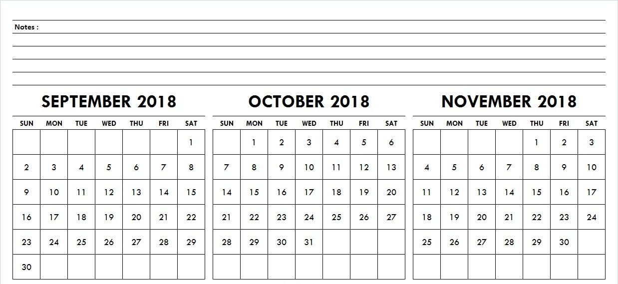 October November December 2018 Calendar With Notes October 2018