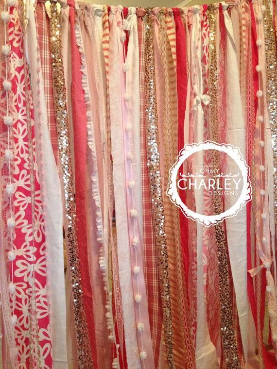 Rose Gold Sequin With Party Popn Pink Ivory Backdrop Garland