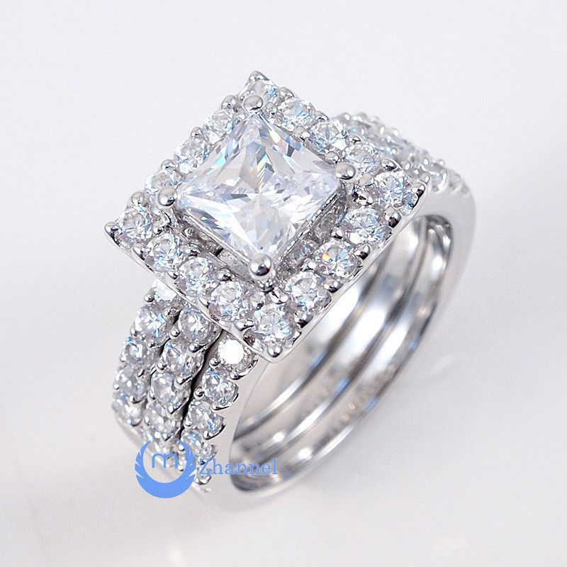 1ct Princess Cut Engagement Wedding Set 3 Rings Signity CZ Rhodium Sterling  Silver