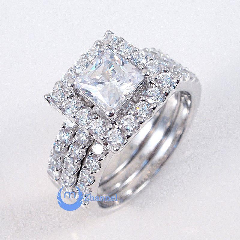 1ct Princess Cut Engagement Wedding Set 3 Rings Signity CZ Rhodium Sterling Silver