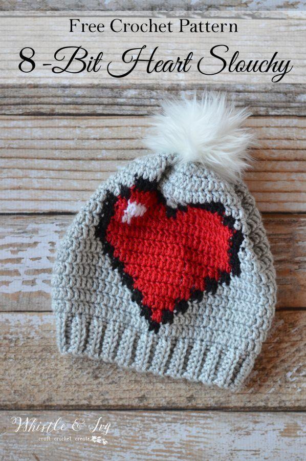 Patrón para hacer a crochet este gorro de corazón de 8-bit! Patrón ...
