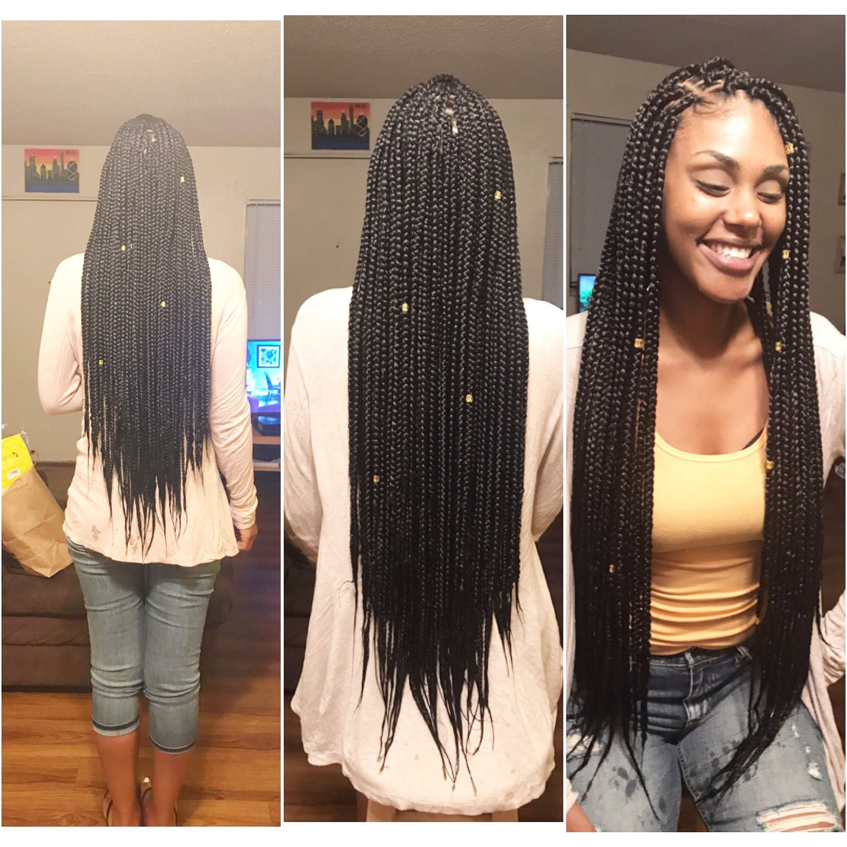 Long medium box braids | Box braids styling, Long hair styles, Box braids hairstyles