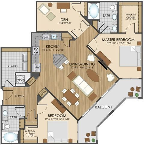 Hidden creek apartment homes apartments in gaithersburg for Four bedroom flat floor plan