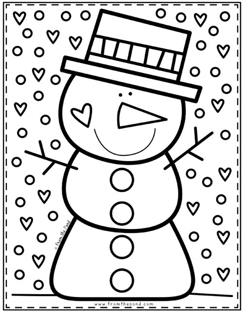 Snowman Coloring Page Coloring Club From The Pond Snowman Coloring Pages Winter Preschool Preschool Christmas
