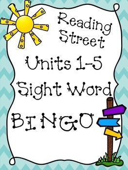 Reading Street First Grade Units 1-5 Sight Word Bingo Games