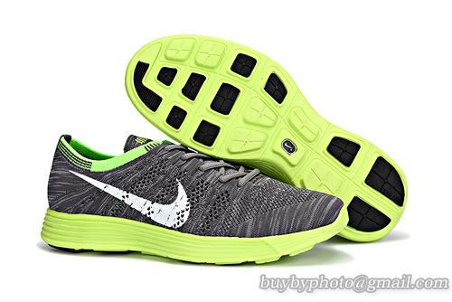 Mens Nike HTM Flyknit Trainer+ Running Shoes Gray Green 535089-002