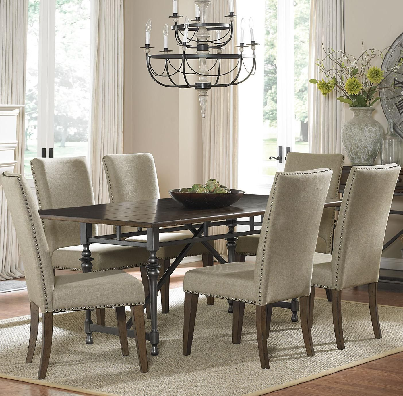 Ivy Park 7 Piece Dining Table And Upholstered Chair Set By