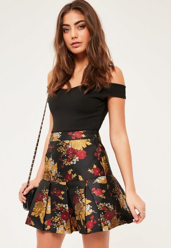 8b668e343bca BLACK JACQUARD PLEATED HEM MINI SKIRT #fashion #trend #jewelry #onlineshop  #shoptagr
