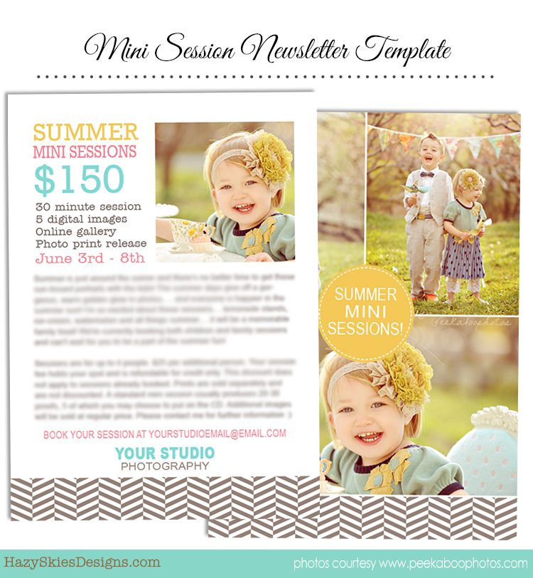 summer mini session marketing newsletter template for photographers