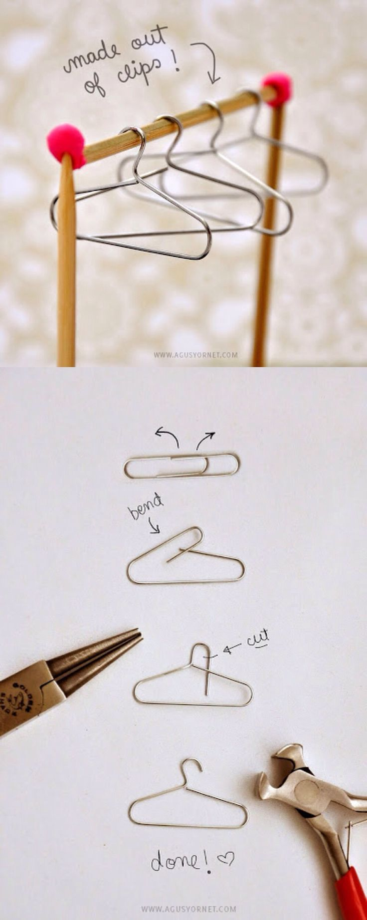 Turn plain paperclips into adorable mini hangers with this easy-to-follow tutorial from Agus Yornet.  Perfect for doll clothes, decorations, on greeting cards, in the playroom, or craft fair displays.: