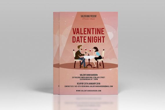Valentines Day Party invitation Template by TemplateStock on Etsy - Invitation Flyer Template