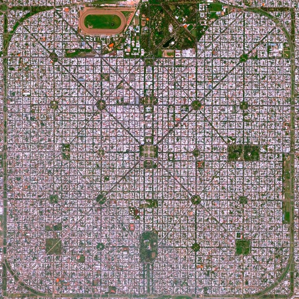"""The planned city of La Plata, the capital city of the Province of Buenos Aires, is characterized by its strict grid pattern. At the 1889 World's Fair in Paris, the new city was awarded two gold medals for the """"City of the Future"""" and """"Better performance built.""""  La Plata Buenos, Aires, Argentina"""