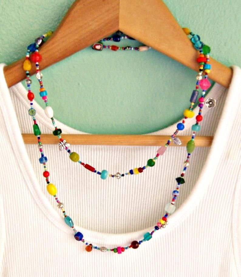 Colorful long beaded necklace boho jewelry bohemian jewelry