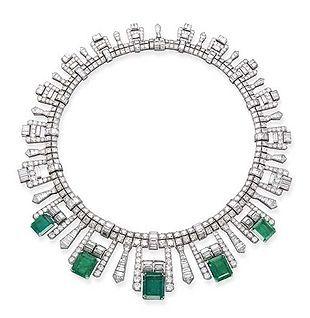 Art Deco French Emerald and Diamond Fringe Necklace, c.1925. Photo Courtesy of Christie's.