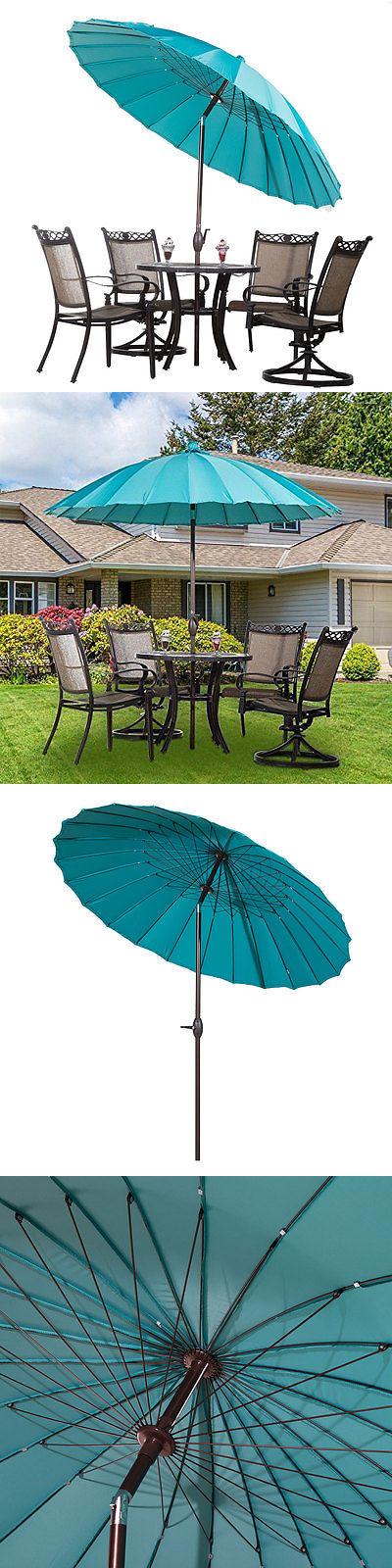Umbrellas 180998: 8.5 Round Outdoor Patio Umbrella 24 Steel Wire Ribs W  Crank Tilt