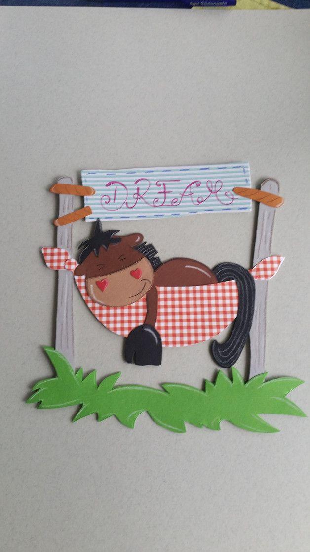 Fensterbild Tonkarton Pferd In Der Hängematte