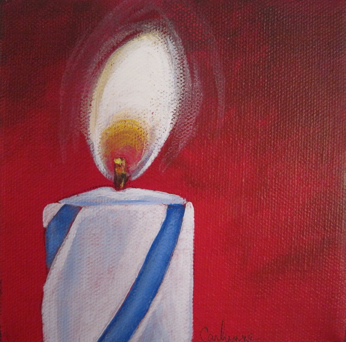 Original painting Blue and White Candle. $35.00, via Etsy.