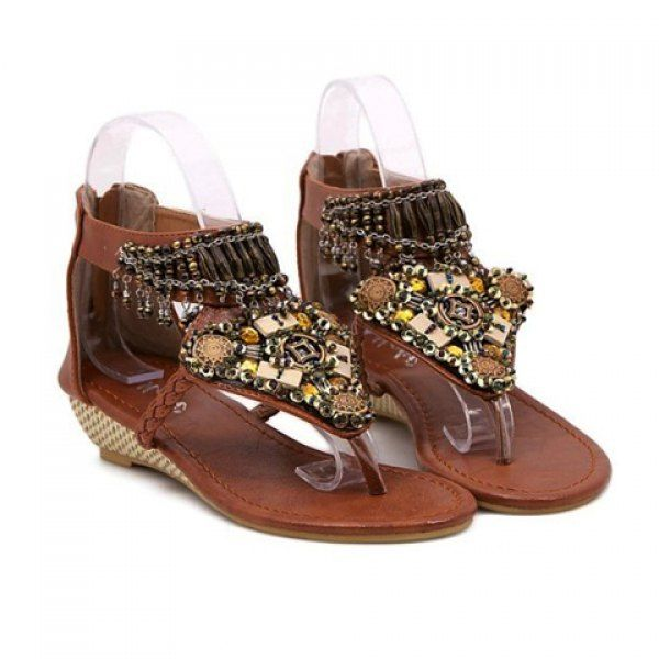 Bohemia Beading and Flip-Flop Design Sandals For Women, BROWN, 39 in Sandals | DressLily.com