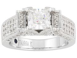 Vanna K(Tm) For Bella Luce(R) 3.40ctw Platinum Plated Sterling Silver Ring