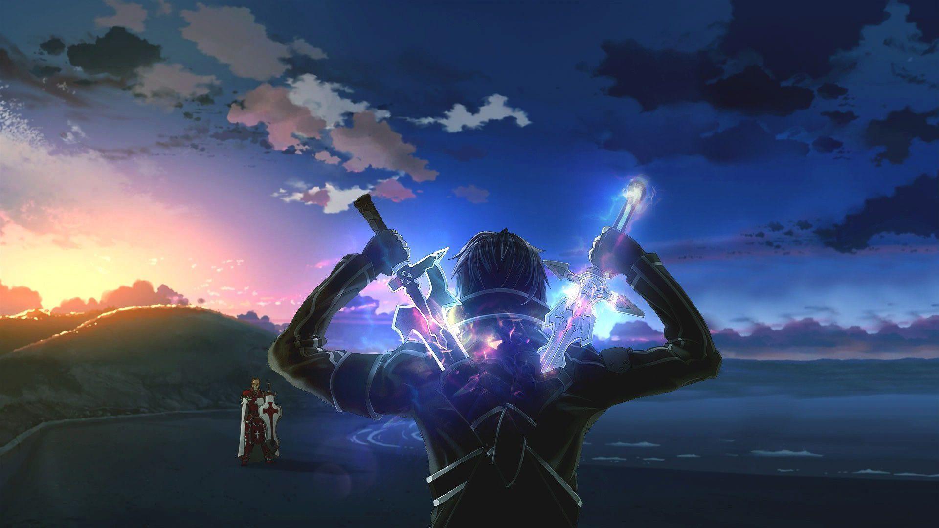 sword art online kirito swords wallpaper | sword art online