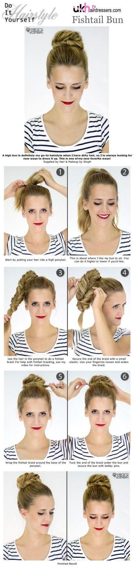 Diy hairstyles hair pinterest beauty ideas fishtail bun and diy hairstyles solutioingenieria Gallery