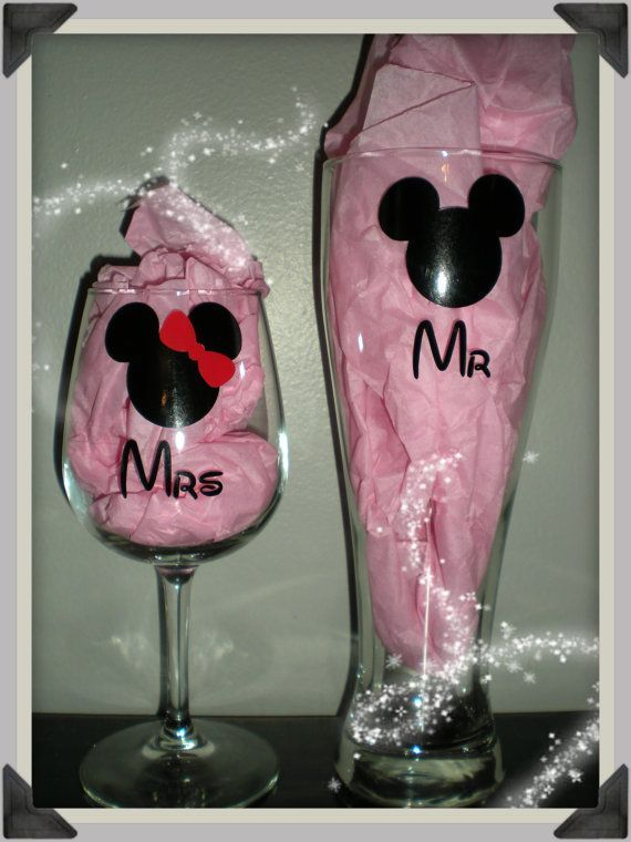Disney Inspired Mouse Mr and Mrs Wine & Beer Glass Set Just ...
