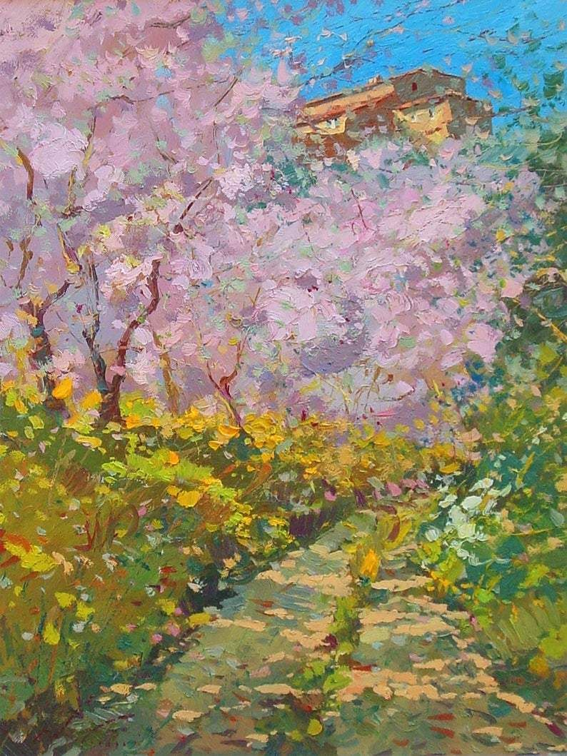 Peach Trees Painting on Canvas, Original Painting, Landscape Painting, Tuscany Painting, Impressionist Art, Room Wall Art, Large Painting