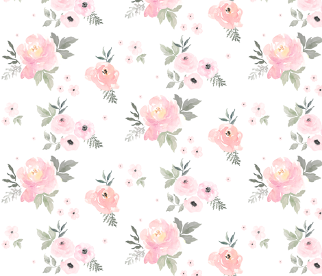 Sweet blush roses wallpaper fabric by shopcabin on for Floral nursery fabric