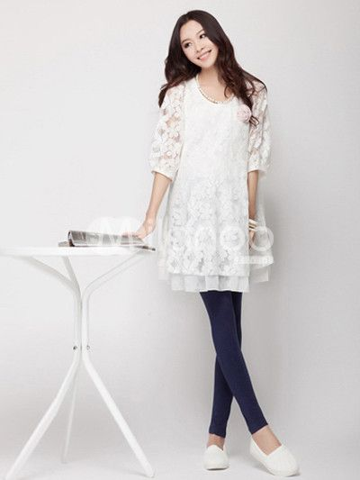 eafe7bb329378 White Half Sleeves Lace Maternity Dress | Pregnancy Shtuff ...