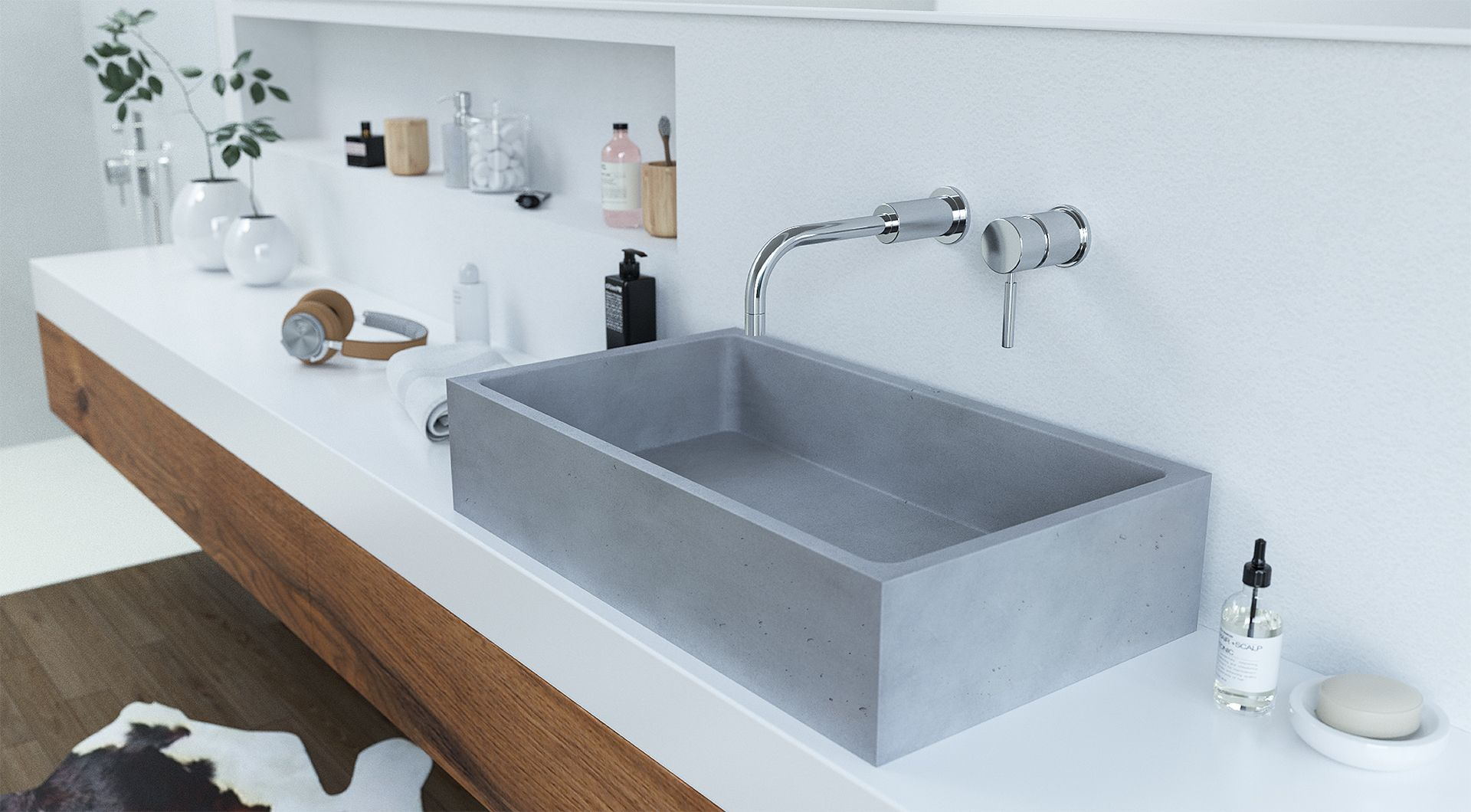 Concrete washbasin Gravelli Box Single in grey variant. | Gravelli ...