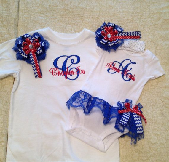 Matching Sisters Baby Girl Monogramed Onesie by PurttyStitches