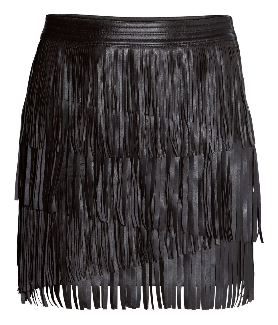 b2469f4e582 Black mini skirt with faux leather fringe. | Party in H&M | H&M ...