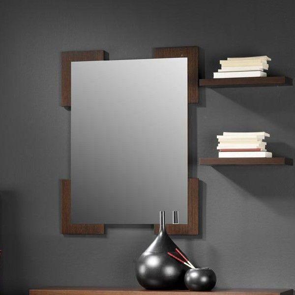 Meuble D Entree Avec Miroir Et Meuble A Chaussures Contemporain Sevrat Coloris Noyer Meuble Entree Miroir Entree Meuble Chaussure