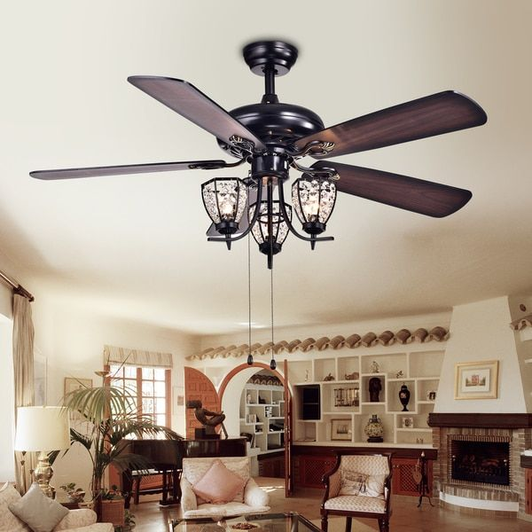 Mirabelle 3 light 5 blade 52 inch black metal and crystal lighted mirabelle 3 light 5 blade 52 inch black metal and crystal lighted ceiling fan aloadofball Images