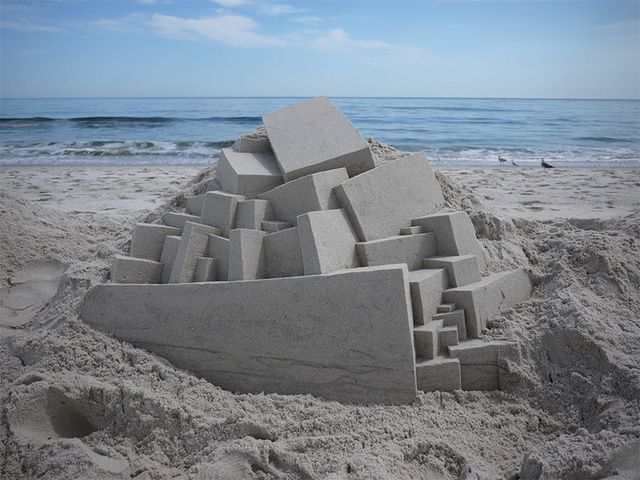 Geometric sand sculptures put your bucket-and-trowel creations to shame