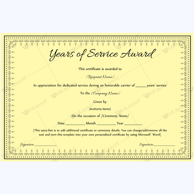 years of service award certificate templates - best years of service award certificate award