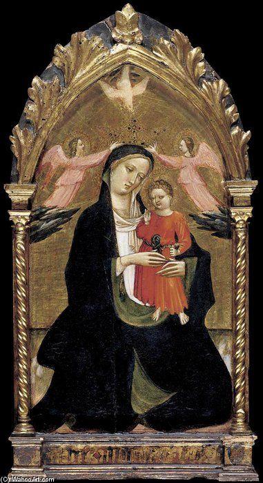 Madonna col Bambino e due angeli  -  Tempera su tavola, fondo oro, 71 x 39 cm  Collezione privata