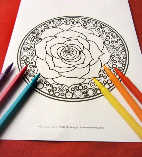 Lotus Flower Mandala Coloring Page Single Page To Print And Color