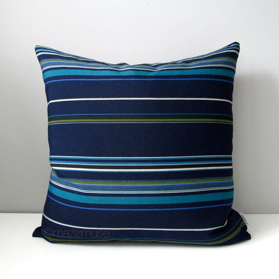 Modern Blue Striped Pillow Cover Decorative Outdoor