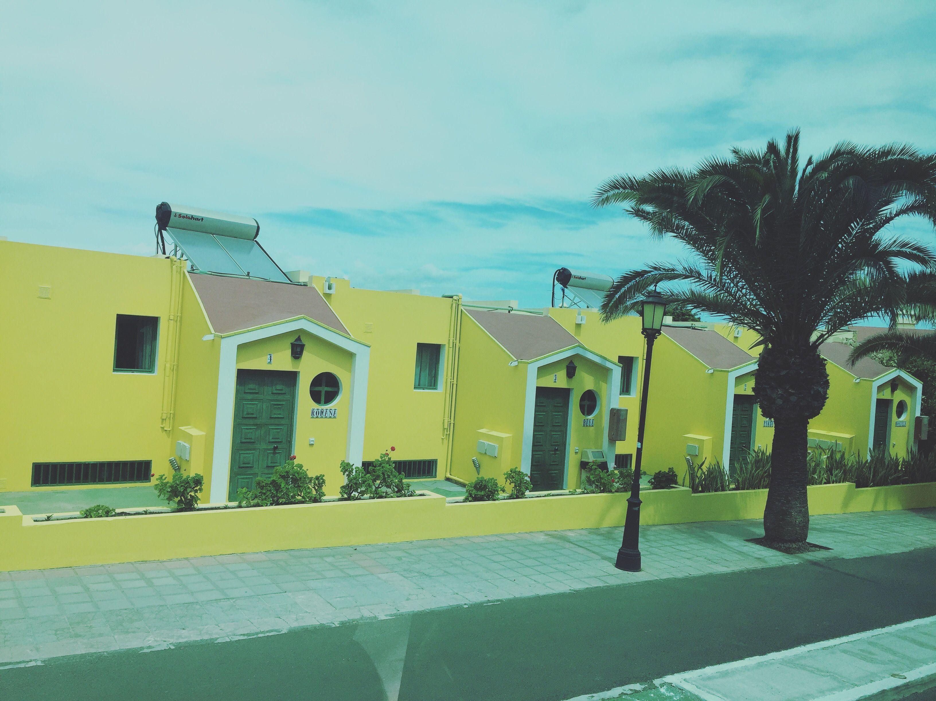 Beautiful yellow houses at Corralejo Fuerteventura