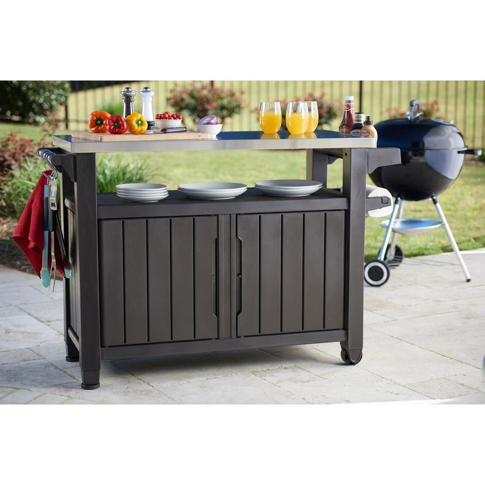 Keter Unity Xl 78 Gal Grill Serving Prep Station Cart With Patio Storage 229369 The Home Depot In 2020 Patio Storage Bbq Table Outdoor Kitchen