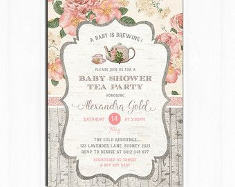 Tea Party Baby Shower Tea Party Invitation Floral Vintage  Baby