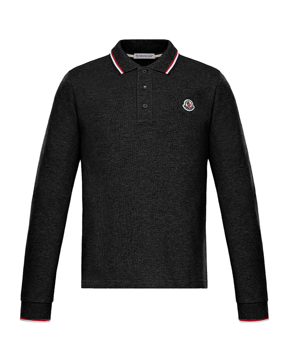 a1d7cb560b53 Moncler Long-Sleeve Polo w  Striped Tipping