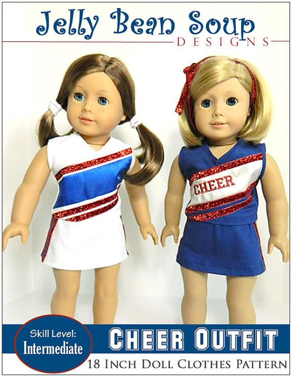 "Pixie Faire Jelly Bean Soup Designs Cheer Outfit Doll Clothes Pattern Designed to Fit 18"" Dolls such as American Girl - PDF"